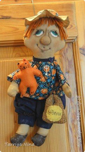 Текстильная кукла,тонирована кофе с корицей.Лицо расписано акриловыли красками,утяжка.Волосы - шерсть. фото 1