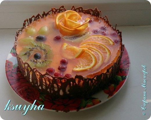 Воздушный фруктовый тортик и сладенькие песочные персики фото 6