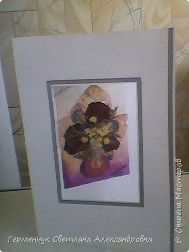 Аппликация из сухих листьев и цветов фото 1