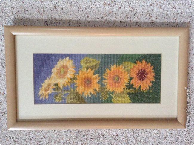 Сегодня покажу картины с цветочными мотивами.Первая- подсолнухи.К сожалению фото загружаются ,, лёжа,,, а у меня они висят вертикально. фото 1