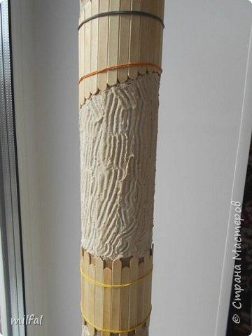 Ваза в стиле этно из бросового материала. Использовала картонную трубу,палочки для мороженного,арбузные и сливовые косточки,шпаклёвку ,клей,лак. фото 4