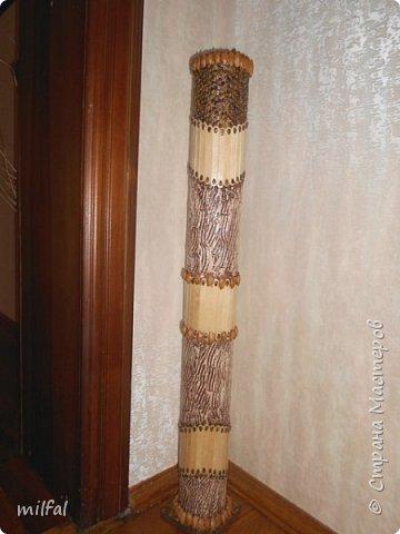 Ваза в стиле этно из бросового материала. Использовала картонную трубу,палочки для мороженного,арбузные и сливовые косточки,шпаклёвку ,клей,лак. фото 1