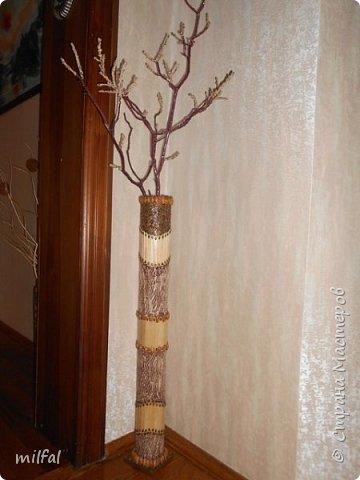 Ваза в стиле этно из бросового материала. Использовала картонную трубу,палочки для мороженного,арбузные и сливовые косточки,шпаклёвку ,клей,лак. фото 9