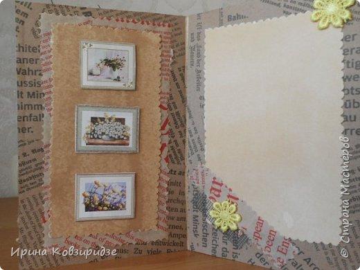 Три открытки на основе акварельной бумаги, обоев, крафт бумаги. Украшена перьями павлина, искусствен. цветком(середина из кусочка пробки). фото 3