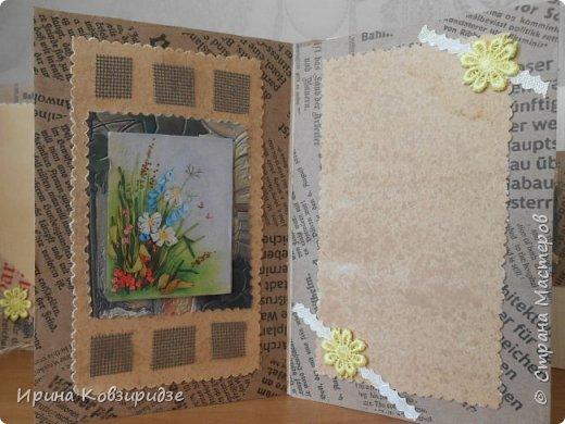 Три открытки на основе акварельной бумаги, обоев, крафт бумаги. Украшена перьями павлина, искусствен. цветком(середина из кусочка пробки). фото 4