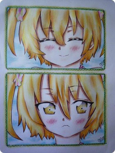 """Знакомьтесь! Это - Идзуми Сена, персонаж аниме """"Любовная сцена""""   Думаю, многим анимешникам известен такой стиль - две картинки, одна под другой, один и тот же персонаж, только разные эмоции или движения. фото 1"""