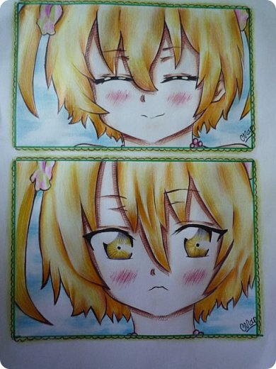 """Знакомьтесь! Это - Идзуми Сена, персонаж аниме """"Любовная сцена""""   Думаю, многим анимешникам известен такой стиль - две картинки, одна под другой, один и тот же персонаж, только разные эмоции или движения. фото 12"""
