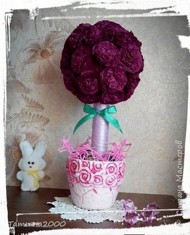 Цветочки сделаны из бумажных салфеток фото 2