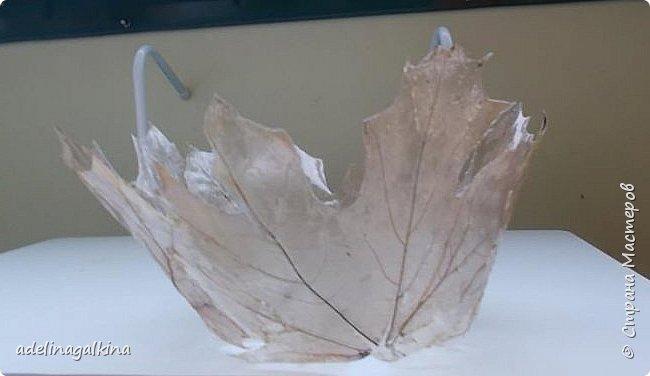 Ваза из скелетированных листьев дуба. Как я скелетировала листья , я уже рассказывала. В этих вазах, в отличии от предыдущих , я не стала наклеивать скелетоны на арганзу, а ламинировала с одной стороны, так они лучше держат форму, немного проигрывая в нежности. Не стала я здесь и донышко плоское приклеивать. Но вазы о..чень лёгкие, всё время улетают у меня с рук., поэтому у второй вазы я приклеила в качестве дна диск. Очень тяжело собирать вазу. Листья склеивала между собой универсальным клеем. фото 5