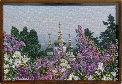 Моя новая вышивка, которую я вышила за 7 дней (по 2-3 часа), используя остаток отпуска.... Вид на Выдубицкий собор-монастырь в Киеве с Ботанического сада. Нитки, шелковые ленты. Размер 210*150 мм, рамка, стекло. фото 2