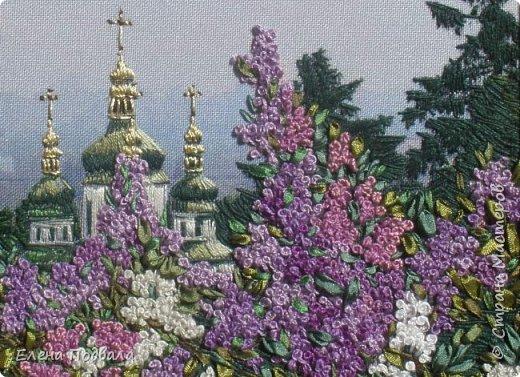 Моя новая вышивка, которую я вышила за 7 дней (по 2-3 часа), используя остаток отпуска.... Вид на Выдубецкий собор-монастырь в Киеве с Ботанического сада. Нитки, шелковые ленты. Размер 210*150 мм, рамка, стекло. фото 4