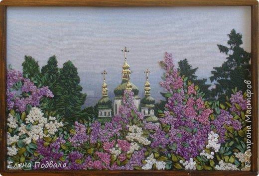 Моя новая вышивка, которую я вышила за 7 дней (по 2-3 часа), используя остаток отпуска.... Вид на Выдубицкий собор-монастырь в Киеве с Ботанического сада. Нитки, шелковые ленты. Размер 210*150 мм, рамка, стекло. фото 3