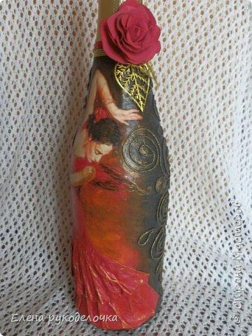 Украшая эту бутылку, впервые попробовала распечатку вместо салфетки и сделать цветочек из фома. фото 2
