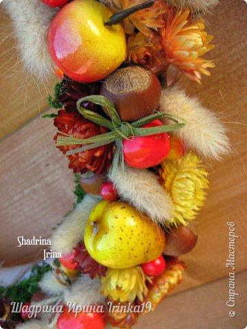 """Здравствуйте, дорогие, любимые, друзья!!! Сегодня вам покажу веночек на дверь, который назвала """"Осенние краски""""! Я не очень люблю осень, но именно ранней осенью сады окрашиваются в такие сочные яркие оттенки, которые как раз мне и нравятся:-) Свой веночек сделала в смешанной технике, т.к декорировала его и натуральными материалами и искусственными! В нём присутствуют:груши, яблочки разных размеров, ягодки,лесной орех настоящий, сухоцветы: лагурус и бессмертник. Немного декорировала веночек бантиками из джутовой веревки и лыка:-) Так что без натуральных материалов я никуда))) фото 4"""