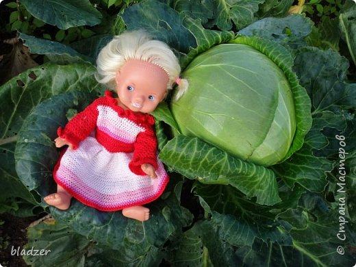 """Летом, как всегда, ездила в родной город к маме. Выяснилось, что они перебирали с сестренкой старые вещи, и нашли много кукольной одежды. Некоторые вещички я вязала еще в школе. Забирать их не стала, конечно, тем более что они нашли своих кукол, но отфотографировала) Это кукла Таня, ее """"нашли в капусте"""" - лялька лялькой. Кукла очень старая, подарена еще моей маме. А платье  наоборот, самое новое в этой группе, я его вязала в старших классах, из остатков розовых ниток. фото 1"""
