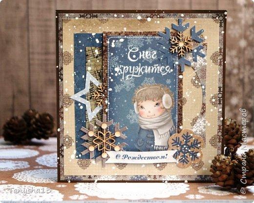 И снова здравствуйте! Продолжаю показывать новогодние работы. Любимая моя форма открыточки (да и не только открыток)) ).Первая круглая открыточка диаметр которой 15 см. фото 5