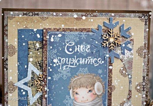 И снова здравствуйте! Продолжаю показывать новогодние работы. Любимая моя форма открыточки (да и не только открыток)) ).Первая круглая открыточка диаметр которой 15 см. фото 6