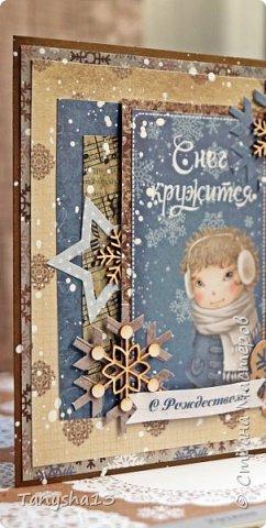 И снова здравствуйте! Продолжаю показывать новогодние работы. Любимая моя форма открыточки (да и не только открыток)) ).Первая круглая открыточка диаметр которой 15 см. фото 7