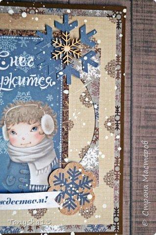 И снова здравствуйте! Продолжаю показывать новогодние работы. Любимая моя форма открыточки (да и не только открыток)) ).Первая круглая открыточка диаметр которой 15 см. фото 9