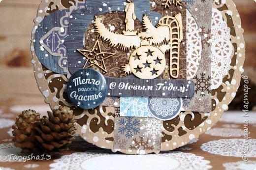 И снова здравствуйте! Продолжаю показывать новогодние работы. Любимая моя форма открыточки (да и не только открыток)) ).Первая круглая открыточка диаметр которой 15 см. фото 3