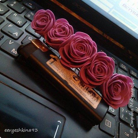 Заколка-автомат с розами из фоамирана фото 1