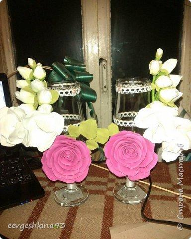 Свадебные бокалы ручной работы фото 5