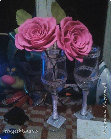 Свадебные бокалы ручной работы фото 2