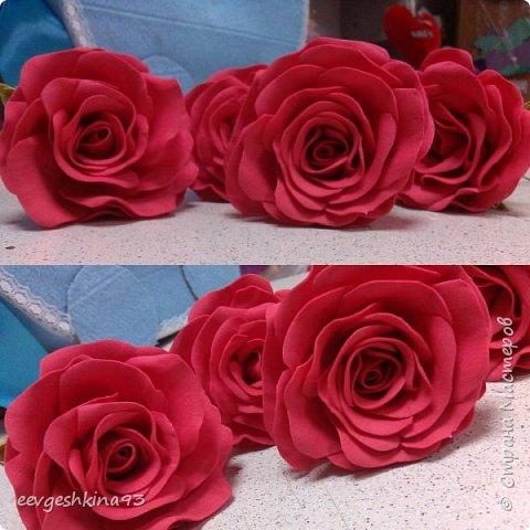 Заколка-автомат с розами из фоамирана фото 17