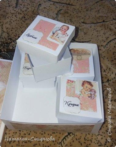 """Здравствуйте, дорогие жители СМ! Хочу показать Вам свою первую сокровищницу. Основная коробочка 12*12см и высотой 4,5см. Маленькие коробульки 5*5см и высотой 3,5см. Для оформления использовала бумагу для скрапбукинга """"Карамель"""" фото 3"""