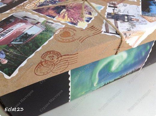 Еще одна маленькая работа в скрапе.  Для ее оформления использованы фотографии именинника, отражающие его разные увлечения (рыбалка, лыжы и т.п.) и фото северных сияний. фото 2
