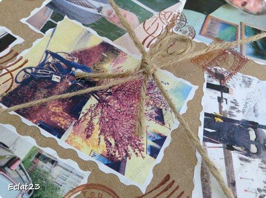 Еще одна маленькая работа в скрапе.  Для ее оформления использованы фотографии именинника, отражающие его разные увлечения (рыбалка, лыжы и т.п.) и фото северных сияний. фото 3