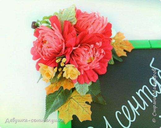 Композиция из конфет, стилизованная под школьную доску — идеальный подарок на 1 сентября тем учителям, которых сложно уже чем-либо удивить! фото 6