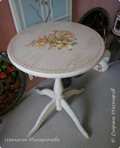 Вот такой столик расписала я  масляными красками!  фото 1