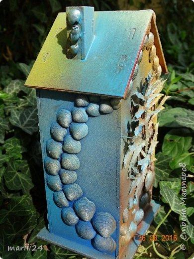 Добрый день уважаемые жители СМ. Сегодня выложу 3 новых чайных домика - экспериментальные. Первые два сделаны с использованием природных материалов, а проще - колючек, травок и цветочков с горки за домом и ракушек с пляжа. фото 11