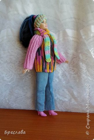 """Сдаю работу на конкурс  """"Осень 2016"""" Модель Барби толстушка  В комплект входят : вязанная куртка, повязка на голову, шарф и джинсы фото 2"""