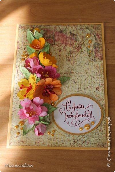 Здравствуйте! Еще одна летне-осенняя открыточка. С моими непонятно какого сорта цветами. фото 15