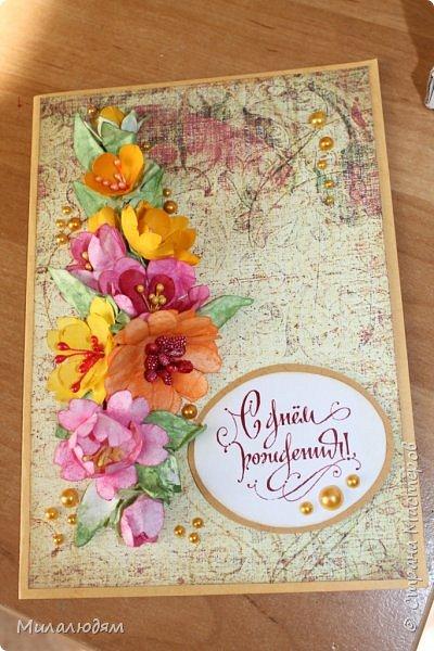 Здравствуйте! Еще одна летне-осенняя открыточка. С моими непонятно какого сорта цветами. фото 1