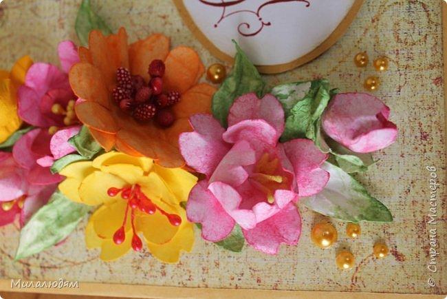 Здравствуйте! Еще одна летне-осенняя открыточка. С моими непонятно какого сорта цветами. фото 5