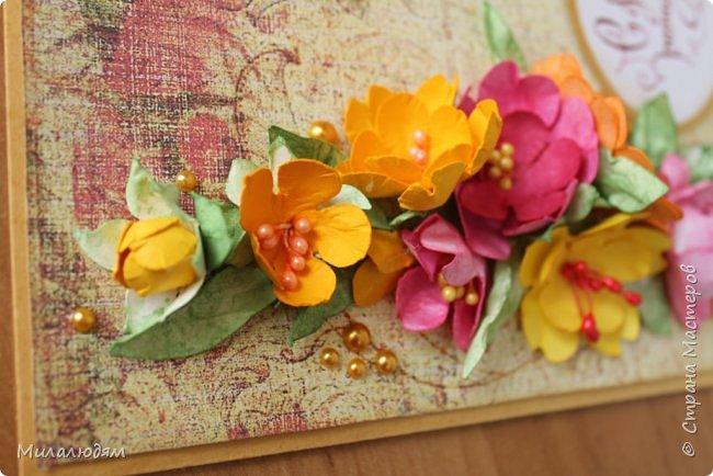 Здравствуйте! Еще одна летне-осенняя открыточка. С моими непонятно какого сорта цветами. фото 7