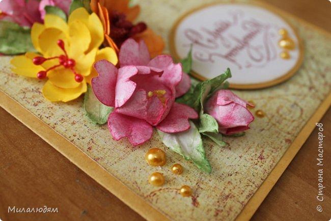 Здравствуйте! Еще одна летне-осенняя открыточка. С моими непонятно какого сорта цветами. фото 10