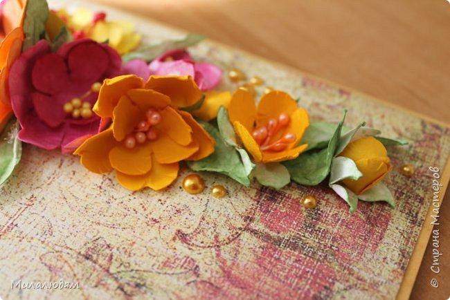 Здравствуйте! Еще одна летне-осенняя открыточка. С моими непонятно какого сорта цветами. фото 12
