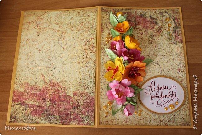 Здравствуйте! Еще одна летне-осенняя открыточка. С моими непонятно какого сорта цветами. фото 13