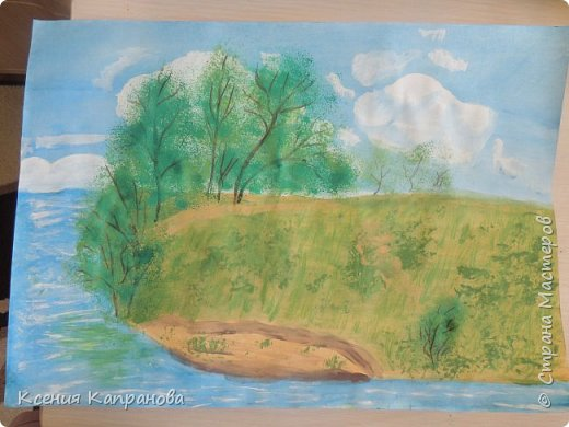 Привет,всем я так по вам соскучилась и этим летом я отдыхала  в деревне  и там я нарисовала этот рисунок. фото 1