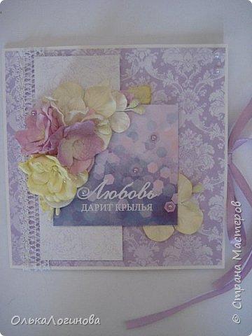 """Доброго дня страна!!!Нежданно,негадано получилась у меня такая вот открытка-конверт для диска))приглашаю посмотреть!Основа акварельная бумага,бумага для скрапбукинга от  Fleur Design коллекция """"Романтика"""",лист """"Тиснение Орхидея"""",""""Шебби Шик.Базовая"""" лист """"Сияющая орхидея"""",цветы-магнолии,гортензии,лилии,листики,тычинки,полубусины и немного кружева,картинка и светлый слой приподняты на пивной картон. фото 1"""