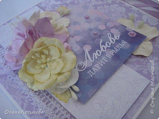"""Доброго дня страна!!!Нежданно,негадано получилась у меня такая вот открытка-конверт для диска))приглашаю посмотреть!Основа акварельная бумага,бумага для скрапбукинга от  Fleur Design коллекция """"Романтика"""",лист """"Тиснение Орхидея"""",""""Шебби Шик.Базовая"""" лист """"Сияющая орхидея"""",цветы-магнолии,гортензии,лилии,листики,тычинки,полубусины и немного кружева,картинка и светлый слой приподняты на пивной картон. фото 4"""