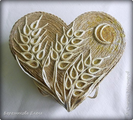 Приветствую всех-всех-всех)))А у меня очередная «сердечная» шкатулочка.Но в этот раз с колосьями пшеницы. Ну,что ж,начнём просмотр?  фото 3