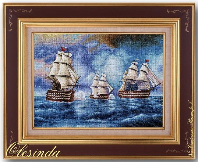 Здравствуйте! Сегодня хочу показать вам вышитую мной картину размером 37х31 см под названием «Бриг «Меркурий» атакованный двумя турецкими суднами» по мотивам одноименной картины И.К. Айвазовского, написанной художником в 1892 году. Это был готовый набор для вышивания фирмы «ПАННА».  События, изображённые на картине, произошли 14 мая 1829 года, когда бриг «Меркурий» под командованием капитан-лейтенанта А. И. Казарского из-за слабого ветра не смог уйти от погони и был настигнут двумя самыми крупными и быстроходными кораблями в турецкой эскадре. На одном из турецких кораблей находился адмирал (капудан-паша) турецкого флота и российский бриг был вынужден вступить в бой, имея на борту 18 орудий против 200 орудий противника. фото 1