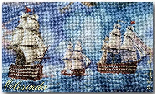 Здравствуйте! Сегодня хочу показать вам вышитую мной картину размером 37х31 см под названием «Бриг «Меркурий» атакованный двумя турецкими суднами» по мотивам одноименной картины И.К. Айвазовского, написанной художником в 1892 году. Это был готовый набор для вышивания фирмы «ПАННА».  События, изображённые на картине, произошли 14 мая 1829 года, когда бриг «Меркурий» под командованием капитан-лейтенанта А. И. Казарского из-за слабого ветра не смог уйти от погони и был настигнут двумя самыми крупными и быстроходными кораблями в турецкой эскадре. На одном из турецких кораблей находился адмирал (капудан-паша) турецкого флота и российский бриг был вынужден вступить в бой, имея на борту 18 орудий против 200 орудий противника. фото 5