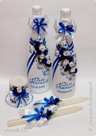 """Небольшой свадебный наборчик. Две бутылки, свечи """"Семейный очаг"""". Пока без имени ( с фантазией у меня туговато), помогите назвать)))) фото 1"""