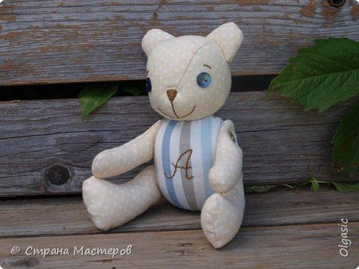 Этого мишку я сшила в подарок своей племяннице. Зовут ее Аленка, поэтому буква А вышита на животике) Опять по выкройке Екатерины Осиповой) http://rigierukodelki.blogspot.ru/  фото 1